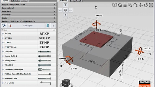 Simpson Strong Tie Introduces Concrete Anchor Design Software With 3d Interface For Construction Pros