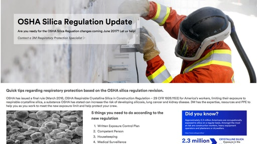 3M wants to share its expertise, resources and PPE to help construction contractors as they work to meet the new crystalline silica exposure limit.