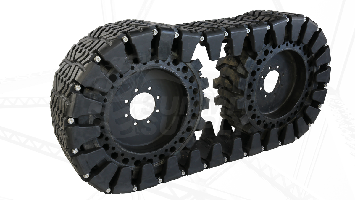 Skid Steer Over The Tire Tracks Of Steel Reinforced Rubber From