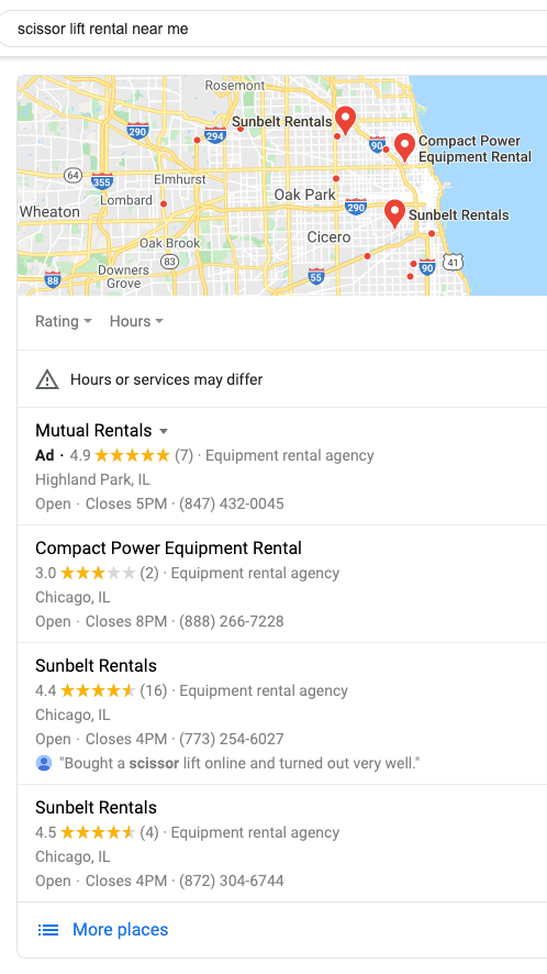 Google My Business accounts are required to have you appear in local searches like this one for 'scissor lift rental near me.'