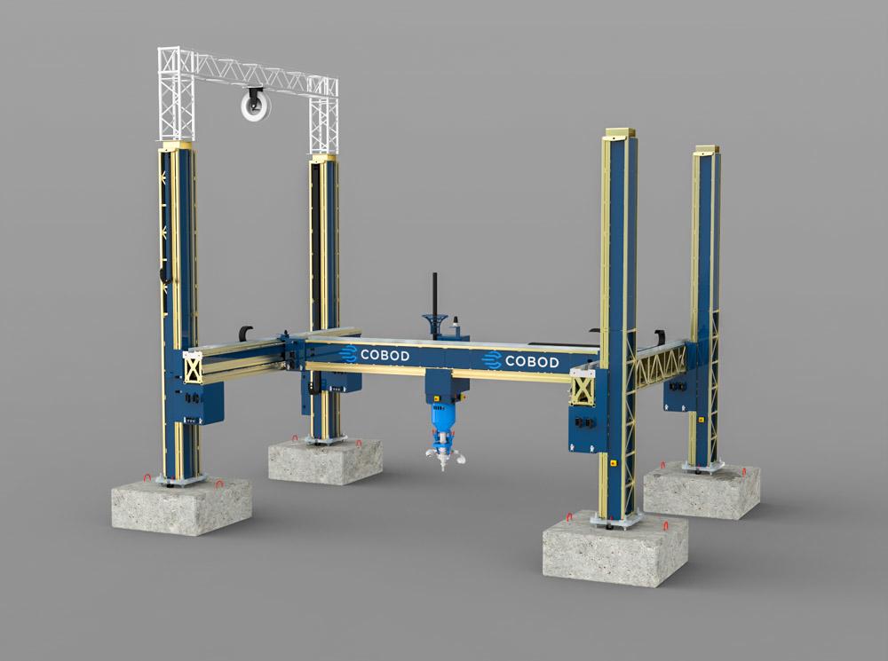 A rendering of a COBOD 3D concrete printer.