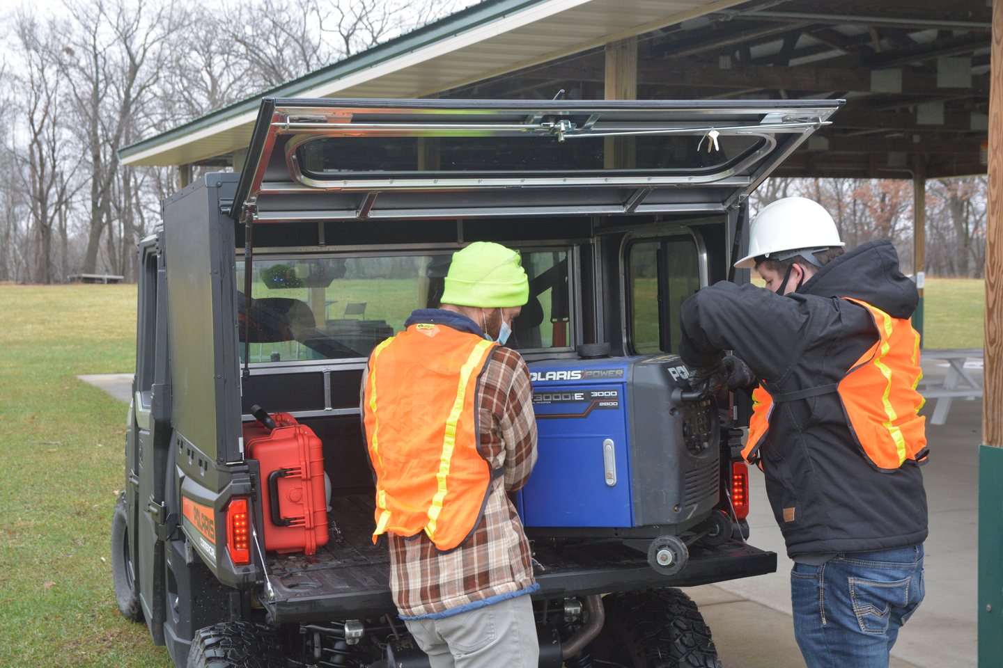 Accessories are often added to utility vehicles for commercial applications, like cabs, keyless start, straight shift, telematics, work lights, strobe beacons, RAC systems for the cargo box and sweepers.